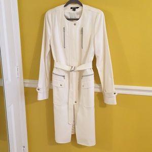 DKNY Long white womens coat, size 14
